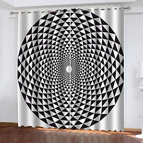 LWXBJX Cortinas Modernas Salon Opacas Dormitorio Modernos - Arte Espiral en Blanco y Negro - Impresión 3D Aislantes de Frío y Calor 90% Opacas Cortinas - 300 x 270 cm - Salon Cocina Habitacion Niño M