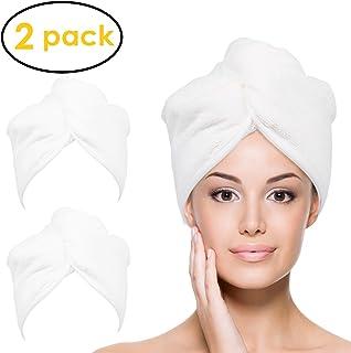 Ultra felpa toalla de pelo de microfibra para mujeres, 2 paquetes de 10 pulgadas x 26 pulgadas morado, ultra absorbente torsión de pelo turbante de secado de la tapa de la envoltura del cabello, para el secado de pelo rizado, largo y grueso