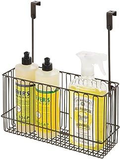 mDesign Estanterías de cocina para utensilios – Prácticos estantes para cocina de metal para guardar botes de lavavajillas, esponjas, etc. – Estante colgante para puertas de armarios – color bronce