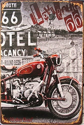UNiQ Designs Vintage Tin Signs - Motorcycle Tin Sign US Route 66 The Mother Road Signs Decor compliment-Route 66 Decor Vintage Metal Signs-Perfect Mancave Garage Signs and Decor Metal Wall Signs 12x8