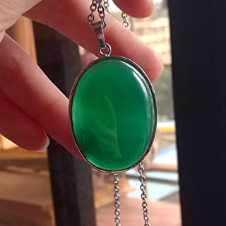 1 Pcs 2'' Beautiful Jewelry Hand Carved Gemstone Green Jade In Sliver Frame Pendant With Silver Chain Necklace 50mm(Green Agate)