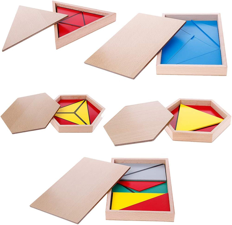 ZJL220 Montessori Wooden Material Toy Constructive Triangles Rectangular Pentagon