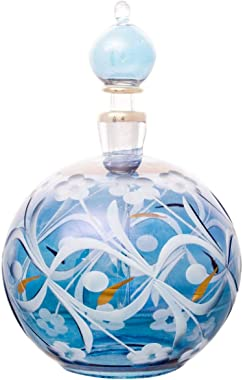 Home and Holiday Shops Blue Etched Ball Egyptian Blown Glass Perfume Bottle Made in Egypt New