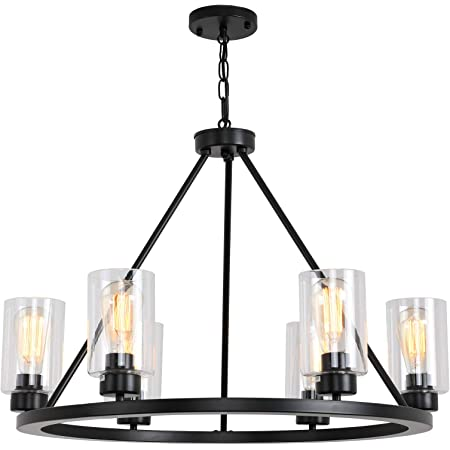 Sivilynus Round 6 Lights Black Farmhouse Chandelier Classic Ceiling Hanging Vintage Rustic Light Fixture for Dining Room Living Room Foyer Porch Kitchen Island