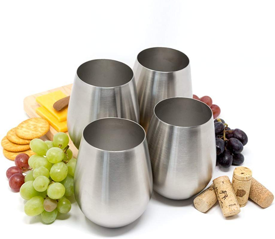 Stainless Steel Stemless Wine Tumblers Stainless Steel Stemless Wine Glasses Set Of 4 18 Oz Tumblers Dishwasher Safe Unbreakable Shatterproof Stainless Steel