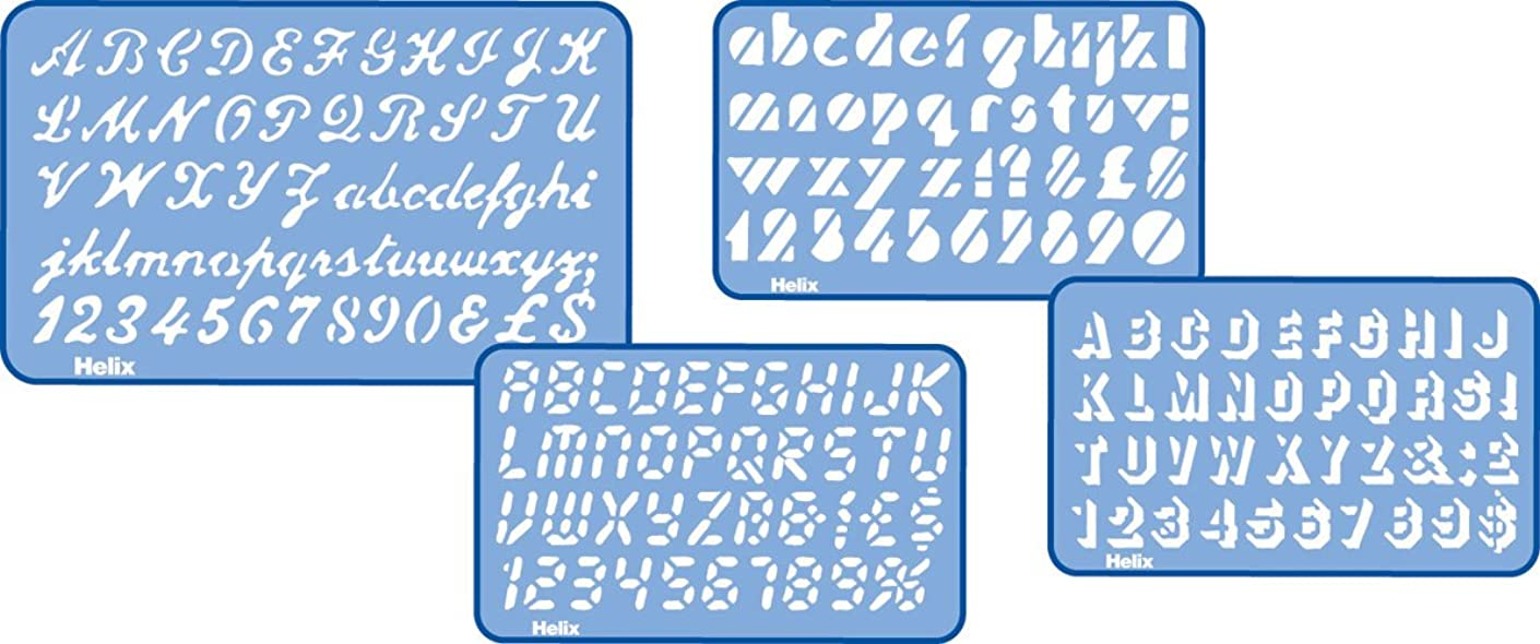 Helix Assorted Font Lettering Guide 4 Piece Set (Script, Digital, Stripe, Shadow) (08500)