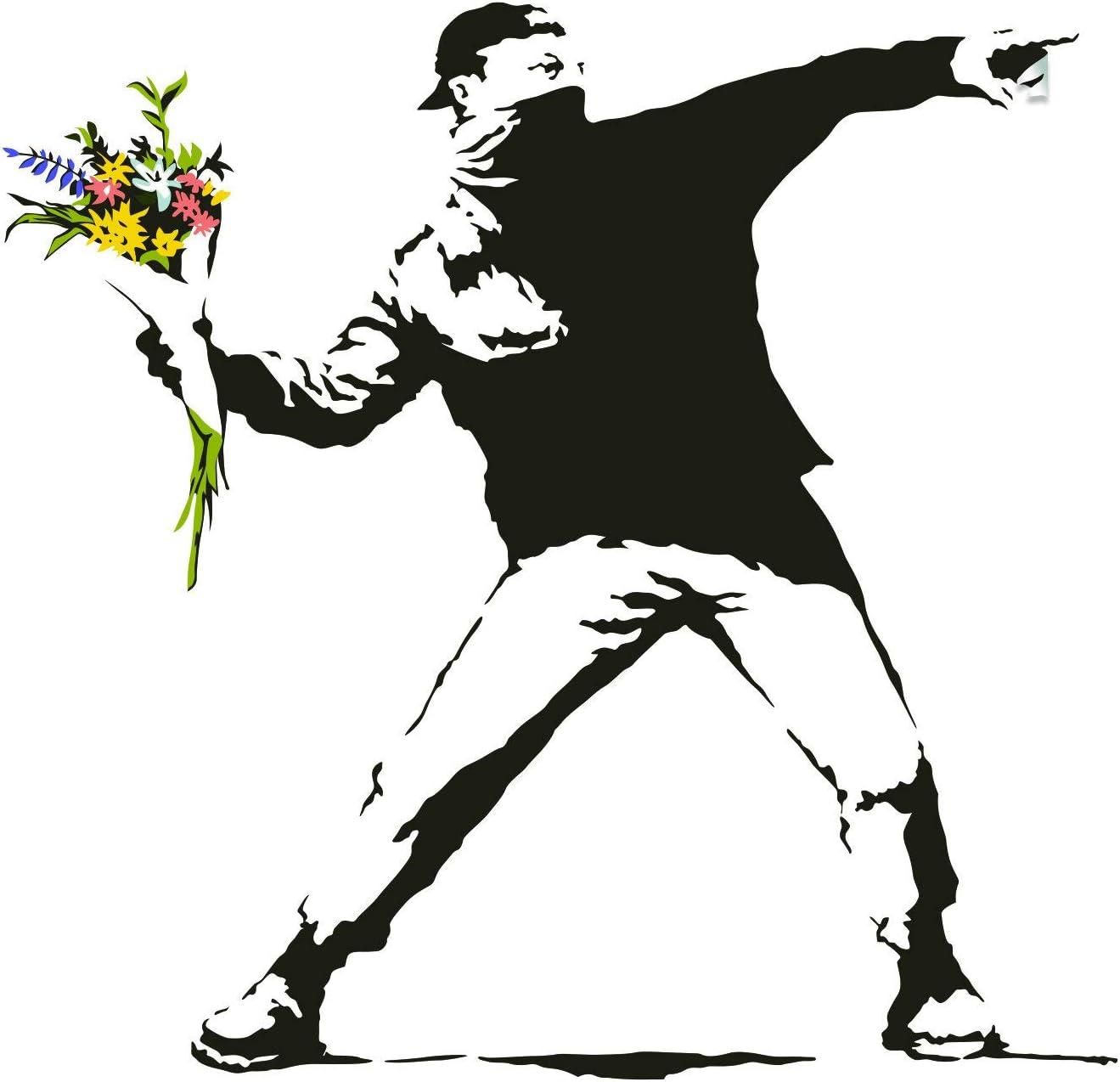 Finally popular brand Banksy Flower Throw Wall Vinyl Sticker free shipping Art Gift Decal - Thrower