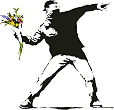 Banksy bloem gooien muur vinyl sticker - werper kunst cadeau sticker - Banksy bloem sticker - Banksy sticker werper