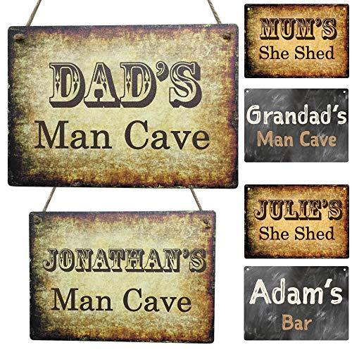 Personalised Dad's Man Cave Sign Mum's She Shed Indoor or Outdoor Plaque ANY CUSTOM NAME Gift Man Cave She Shed Vintage Retro Novelty Gift for Study Office Garage Dad (20cm x 14cm) LittleShopOfWishes