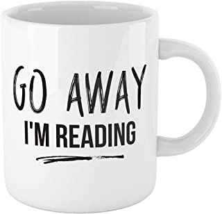 Book Lovers Reading Mug, BW Quote- GO AWAY, I'M READING MUG - Bookworm Gifts, Funny Bookish Coffee Mug, Reader Gift, Teacher Gift!
