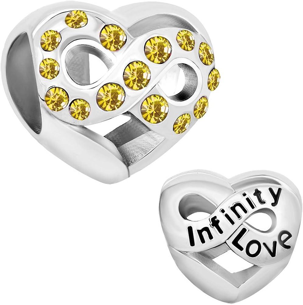 Third Time Charm Jan-Dec Birthday Charm Heart Infinity Love Beads for Bracelets