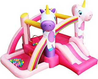 RETRO JUMP Unicorn Bouncer Rainbow Princess Bounce House Slides Bouncy Inflatable Jumper House with Blower for Birthday Party Gift