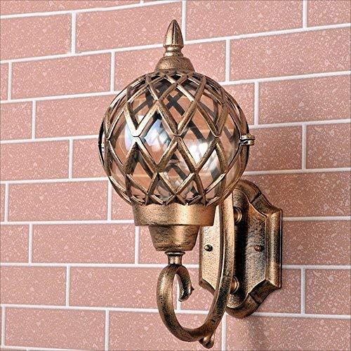 Lámpara de pared para exteriores Villa Lámpara de pared de bronce Retro al aire libre Impermeable al aire libre Lámpara de pared creativa para jardín E27 Dimensiones de la tapa de la lámpara: 280 * 3