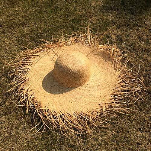 LJZCCAWDC Handgemachte Webart-Raffia-Sonnenhüte für Frauen-große Rand-Strohhut-Strand-Sommer-Kappen im Freien
