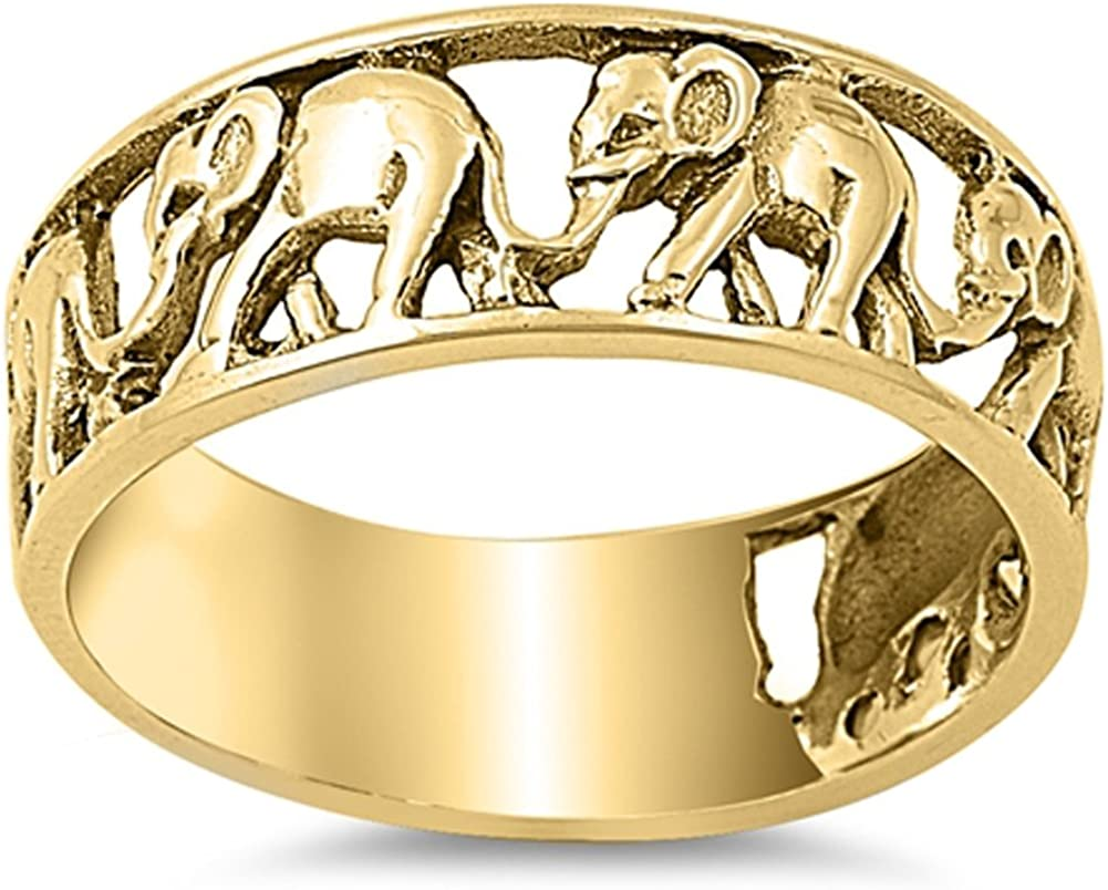 CHOOSE Time sale Sale YOUR COLOR Sterling Silver Elephant Ring
