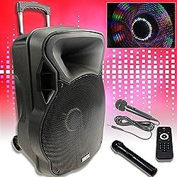 etc-shop 800W Mobile LED Party Sound System Karaoke Bluetooth USB SD Trolley Radio Micro MP3
