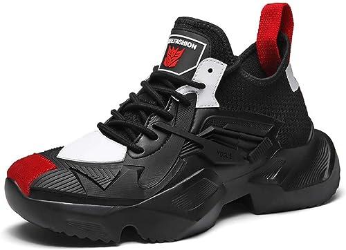 Hommes Baskets Maille Fond épais augmenté Chaussures de Course Avant Chaussures à Lacets Haut Chaussures décontractées Printemps Nouveau,C,42EU