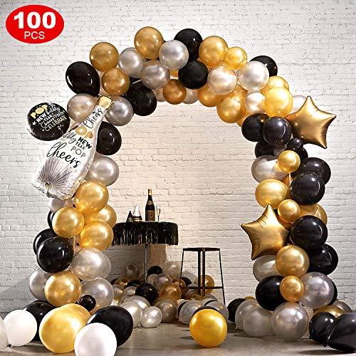 FEYG Luftballon, 100 Stück Schwarz Gold Silber Luftballons Geburtstag Latex Helium Ballons für Geburtstag, Hochzeit, Babyparty, Dekoration, Geschäftstätigkeit