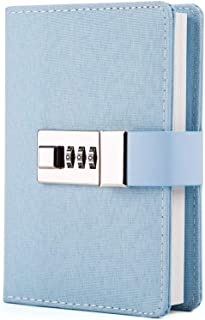 Lock Journal Combination Lock Writing Travel Diary a7 Mini Notebook Blue