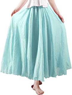 OCHENTA Women's Bohemian Elastic Waist Flowing Maxi Skirt