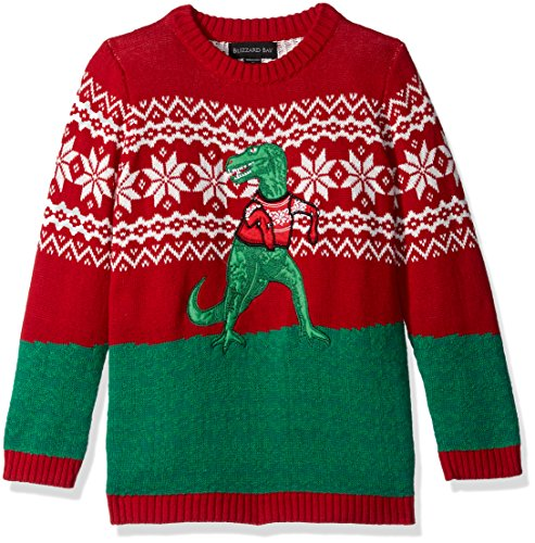Blizzard Bay Boys Ugly Chrismas Sweater Animals, red/green/trex, 6 L