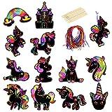 48 hojas Scratch Art para Niños Unicornio MEZOOM Manualidades para Rascar Papel de Rascar Niños Dibujo Scratch Láminas Creativas Papel para Dibujar Regalo para Cumpleaños Infantiles Premios