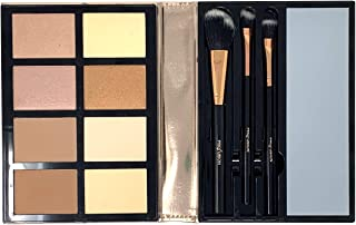 Profusion Cosmetics, Contour Beauty Book - Professional 8 Color Palette, Face Powder Highlighter Bronzer Makeup Kit, Brushes Included