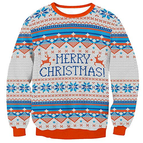 Arvilhill Christmas Men's Long Sleeve Ugly Party Sweatshirt 3D Printed Funny Holiday Shirts Christmas Pattern XL