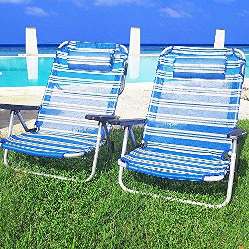 BUYSTAR Coppia spiaggine spiaggina Sdraio Pieghevoli Portatili per Il Mare Piscina Giardino Campeggio Sedia Sdraio da Spiaggia con braccioli e Cuscino in Alluminio e textilene