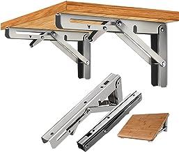 "2Pcs 16"" Folding Table Bracket Stainless Steel Triangle 150KG Wall Shelf Bench 16"" 16"""
