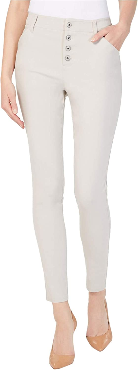 I-N-C Womens Exposed Button Casual Trouser Pants, Beige, 10