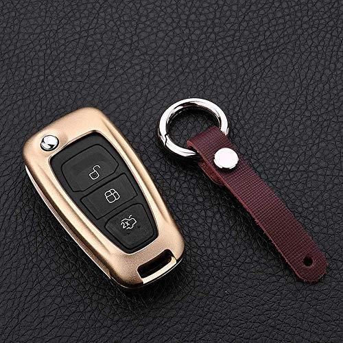 YUFFD Case para Mando De Auto, para Ford Focus 3 Botones Llave Abatible Coche Aleación De Aluminio Titular De La Llave Funda para Llavero Carcasa Cadena Protección para Llaves