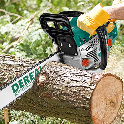DEREAL 58cc-Gas-Chainsaw 2 Cycle Gasoline Powered Chain Saws Handheld Cordless Petrol Chainsaws Optional 20-Inches Guide Board Power Chain Saws for Trees Wood Farm Garden Ranch Forest Cutting