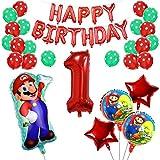 Yisscen 1 Año Super Mario Globos de Fiesta de Cumpleaños Set Látex de Puntos Pentagrama Pancarta Papel de Aluminio Helio Número 1 Globos Usado para 1 Año Niño Niña Aniversario Partido Decoraciones