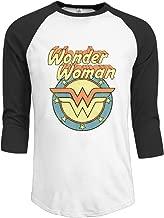 Men Comics Licensed Retro Wonder Woman Vintage 3/4 Sleeve Raglan Shirts