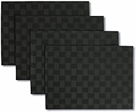 Bardwil Reflections Microfiber Fabric Placemat 13 x 18, Black, 4 Pack