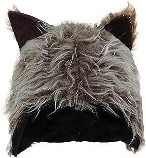 Novelty Furry Wolf Ear Hat Grey, Brown