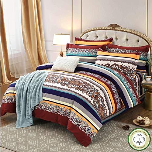Qucover Bettwäsche 220x240cm Baumwolle Feinbiber für Doppelbett Bettbezug mit Reißverschluss Bettgarnitur Set mit Bettlaken für Winter Exotik Indischer Stil
