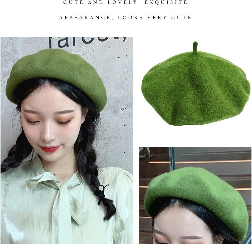 Gorros Beige Sombreros cl/ásicos shunbang yuan Boinas para Mujer Gorra de Estilo franc/és Boinas de Color s/ólido