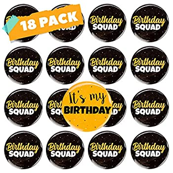 CORRURE 18pcs Birthday Button Pins 2.35  - Party Birthday Pins for the Whole Birthday Squad - Unisex Pinback Badge Crew Favors Supplies for 18th 21st 25th 30th Birthday Adults Kids Men or Women