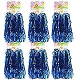 hatisan 12 Piezas de Pompones de Animadora Bola de Flor Pompones Cheerleader Pompoms (Azul)
