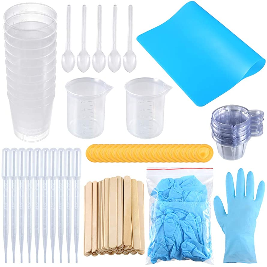 Sntieecr 158 Pieces Resin Cups Casting Tools Kit, Including 100ml Measuring Cups, A4 Silicone Sheet, Mixing Spoons, 2oz Graduated Cups, Sticks, Dropping Pipettes and Gloves for Resin and Art Making
