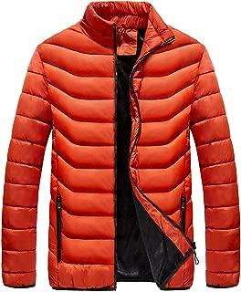 Mens Winter Puffer Down Jacket Fleece Lined Jacket Quilted Insulated Coat Men(Not for Big Men)