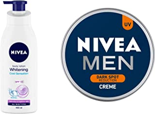 NIVEA Body Lotion, Whitening Cool Sensation (SPF 15), 400ml and NIVEA MEN Cream, Dark Spot Reduction, 150ml