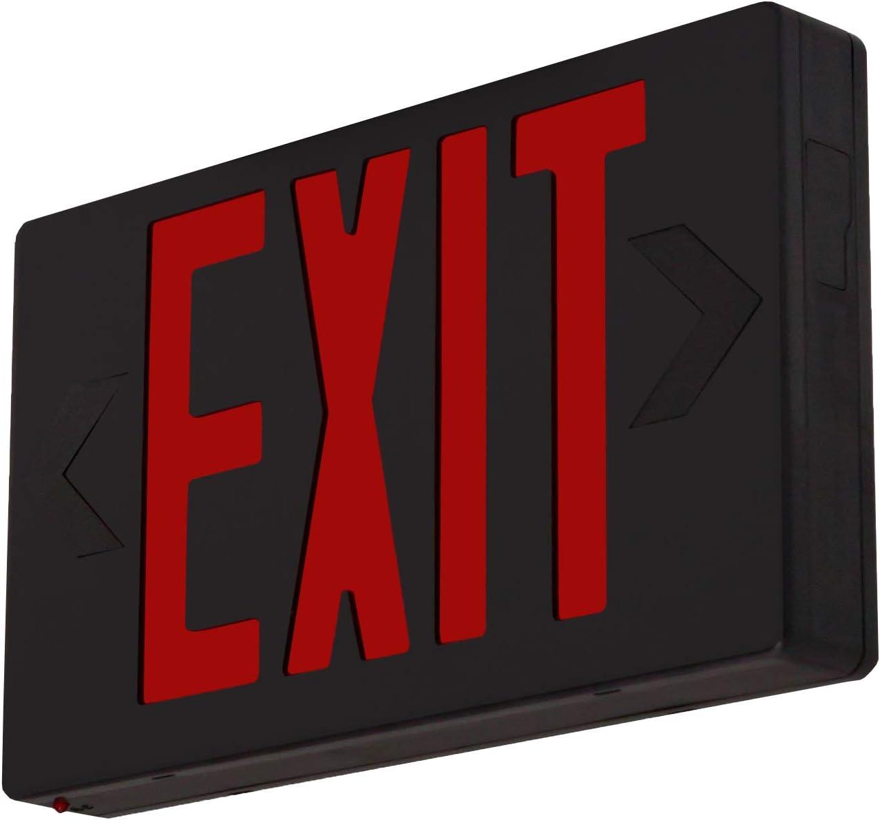 LFI Lights - UL Certified - Hardwired Red LED Exit Light - Black Housing - Battery Backup Sign - LEDR3B