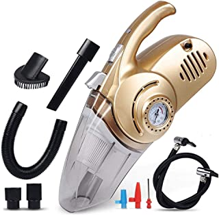 Volwco 4 in 1 Handheld Cordded Car Vacuum Cleaner، DC 12V Wet Dry Auto Dust Buster مع مقياس ضغط لنفخ الإطارات وإضاءة LED ل...