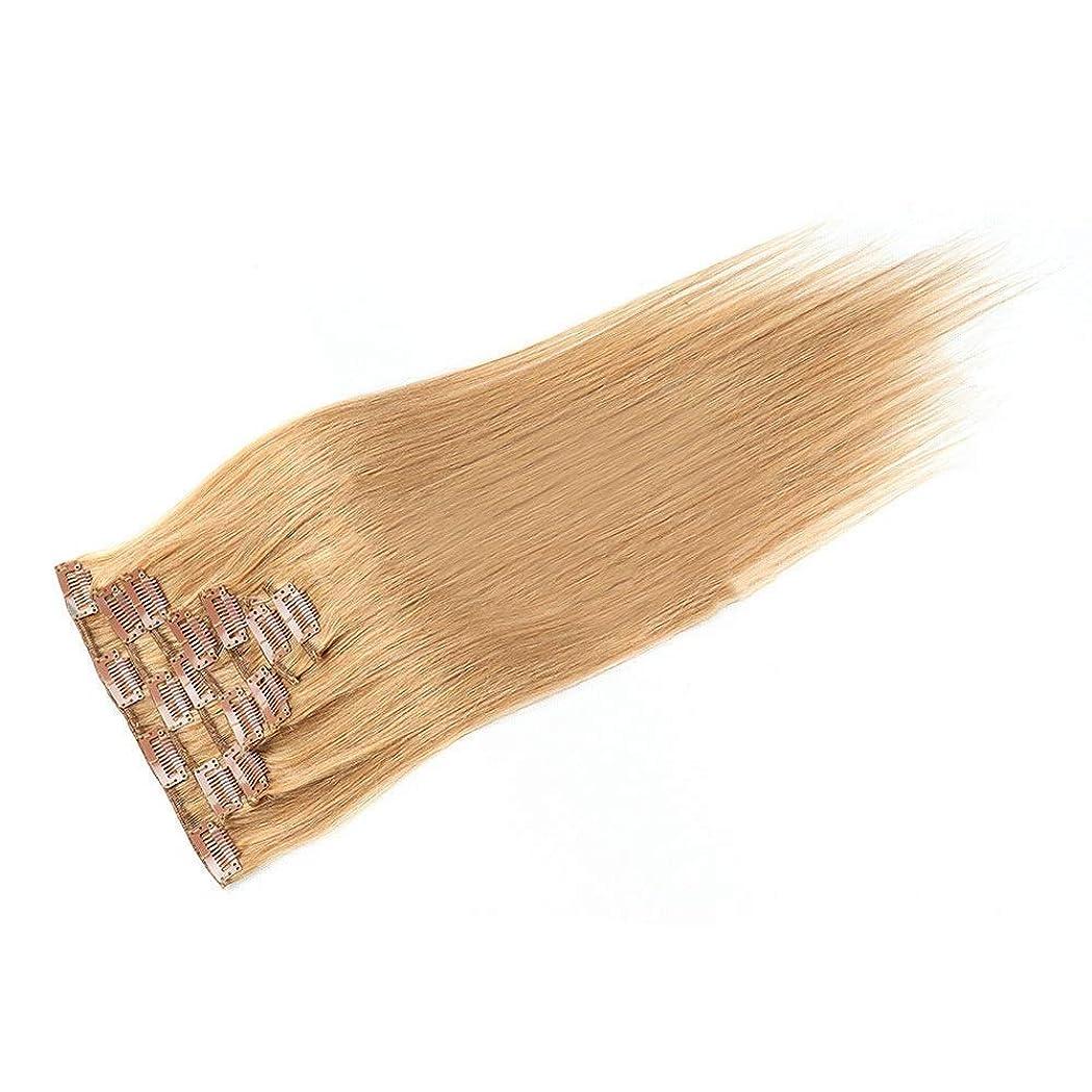 インドログ媒染剤HOHYLLYA 20インチ人毛エクステンションクリップイン - ダブル横糸ストレートヘア - 100%レミーヘア7個フルヘッド(20