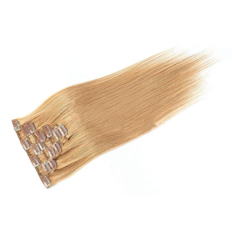 松下手タイトHOHYLLYA 20インチ人毛エクステンションクリップイン - ダブル横糸ストレートヘア - 100%レミーヘア7個フルヘッド(20