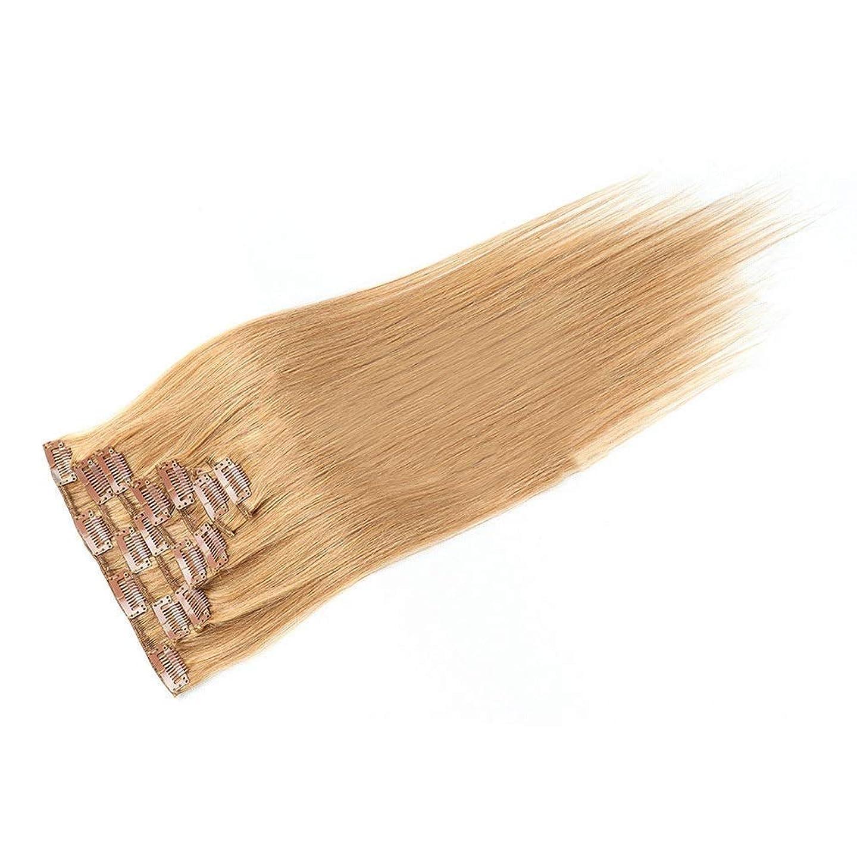 小麦粉価値娘BOBIDYEE 20インチ人毛エクステンションクリップイン - ダブル横糸ストレートヘア - 100%レミーヘア7個フルヘッド(20