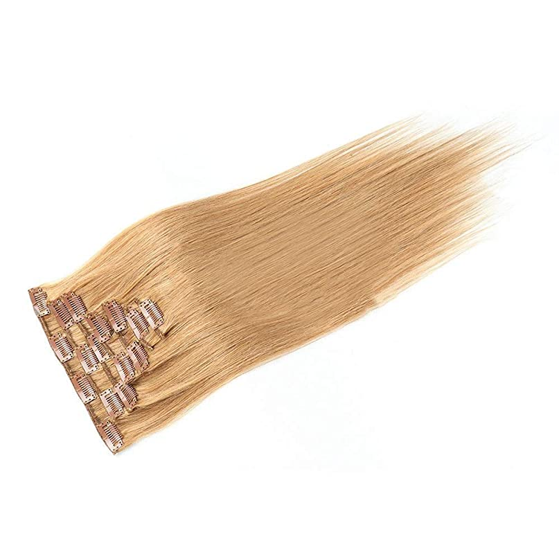 学生難破船居心地の良いYESONEEP 20インチ人毛エクステンションクリップイン - ダブル横糸ストレートヘア - 100%レミーヘア7個フルヘッド(20